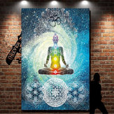 7 Chakra Wall Hanging Tapestry Indian Blue Tone Bedspread Bed