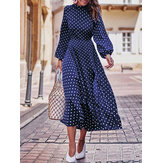 Polka Dot Printed Long Sleeve Women Causal Shirt Dress