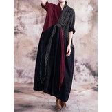 Vestido feminino de mangas compridas com decote em V solto xadrez patchwork maxi