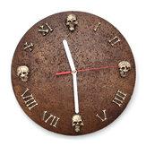 Resina Montado en la pared Cráneo Cabeza Reloj Art Abstract Wall Reloj Decoraciones para el hogar de Halloween