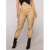 Düz Renk Yüksek Elastik Bel Casual Harem Pantolon