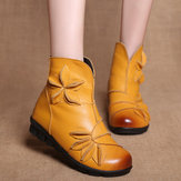 Women Handmade Flower Genuine Leather Comfy Ankle Short Boots