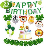 29 stks / set Jungle Animal Decoraties Gelukkige Verjaardag Banner Animal Ballonnen en Animal Cake Toppers voor Zoo Theme Birthday Party Decorations