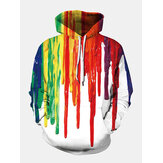 Mens Colorful Graffiti Printed Long Sleeve Pocket Casual Hoodies Sweaters