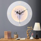 220V LED Nordic Deer Round Clock Night Light Wall Lamp Bedroom Living Room Decor 24CM