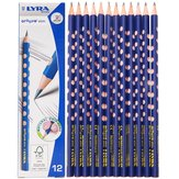 Lyra 1760102 12 Pcs/Set Wooden Sketch Pencils Groove Slim Hole Correction Writing Posture Grip Position Painting Drawing Pencil HB 2B 2H
