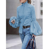 Women Puff Sleeve High Neck Ruffle Blouse Work Elegant Shirt
