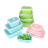 4 Pcs Set Folding Containers Silicone Food Storage Microwave Fridge Lunch Box