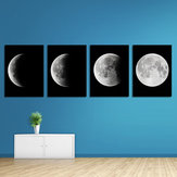 Miico Hand Painted Four Combination Decorative Paintings Gradient Moonlight Wall Art For Home Decoration