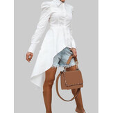 Solid Color Lapel Button Long Sleeve High Low Hem Basis Shirt Dress