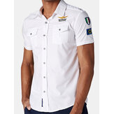 Mens Cotton Fashion Slim Tide Uniform Short Sleeved Shirts