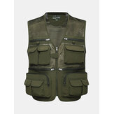 Mens Outdooors Fishing Spring Autumn Multi Pocket Mesh Photojournalist Loose Vest Waistcoat