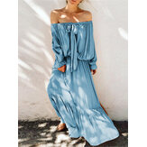 Plus Size Off Shoulder Bow-knot Ruffle Party Long Maxi Dress