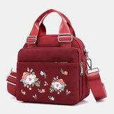 Women Light Weight Flower Embroidered Crossbody Bag