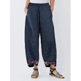 Patchwork estampado floral irregular Pantalones para Mujer