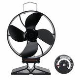 4 lapátos, hőellátású tűzhelyventilátor Csendesen égő tűzégő rönkhő Eco-ventilátor hőmérővel