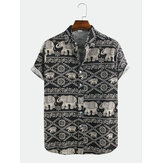 Mens Ethnic Elephant Printed Short Sleeve Casual Shirts