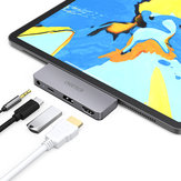 CHOETECH USB-C Hub Docking Station Adapter with USB 2.0/4K@60Hz HD Video Output Display/3.5mm Audio Jack/60W PD Charging Port