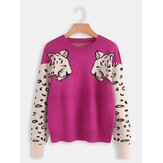 Women Leopard Print Round Neck Long Sleeve Sweaters