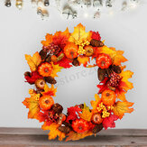 45/60cm Wreath Garland Maple Leaves Pumpkin Door For Christmas Party Decorations