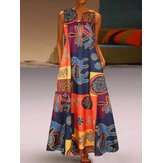 Elegant Sleeveless Floral Print V-neck Women Maxi Dress