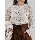 Chic Lace Hollow Out Langarm O-Ausschnitt Causal Bluse