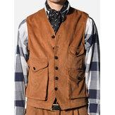 Veste en velours côtelé rétro pour hommes, multi-poches, sans manches