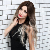 Loose Wave Lace Front Wigs 24 Inch Long Ombre Silver Dark R