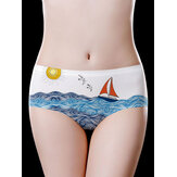 Low Waist Seamless Ice Silk Printed Comfy Briefs