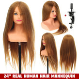 "24 ""100% Real Human Hair Mannequin Head Hairdressing Training Head + Stand US"