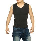 Hommes col rond gilet chaud titulaire de la chaleur sous-vêtements thermiques sans manches haut chemisier sous-vêtements