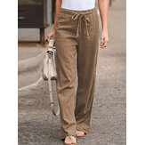 S-5XL Women Elastic Waist Casual Wide Legs Long Pants Solid Yoga Trousers