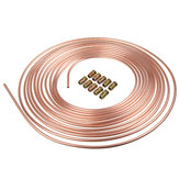 25ft Copper Brake Line Pipe Hose Kit 10 Male & 10 Female Nuts Joiner Joint 3/16 Union