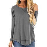 Solid Casual Round Neck Long Sleeve Irregular Hem T-shirts