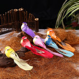 12Pcs Colorful Clip Vintage Artificial Bird Foam Feather Christmas Tree Decorations