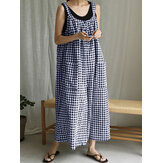 Plus Size Women Plaid Print Casual Loose Jumpsuit