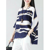 Women Oversize Wave Print Batwing Sleeve Casual Blouse