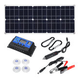 100W 18V MonocrystalineSolar Panel Dual 12V / 5V DC USB Charger Kit with 10A Solar Controller&Cables