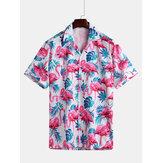 Erkekler Flamingo Yaprak Yazdır Kısa Kollu Hawaii Gömlek