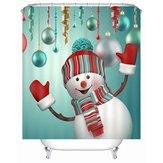 180 x 180 см Водонепроницаемы 3D Рождественский снеговик с принтом Ванная комната Занавеска для душа Ванная комната Декор