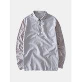 Atmungsaktives bequemes einfarbiges Patchwork für Herren Loose Vintage Casual T-Shirts