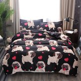 Pug Puppy Print Bedding Sets Duvet Cute Dog Quilt Cover Fitted Pillowcase