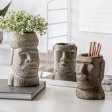 Yuihome Vintage Cement Easter Moai Stone Portrait Organizer Stone Statue Sandstone Flower Pot Pen Holder Desktop Container Decor