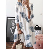 Women Casual Loose Leaf Printed Round Neck Long Sleeve Dress