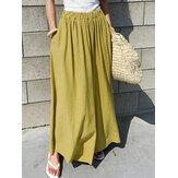 Frauen elastische Taille Baumwolle lose weites Bein Hosen mit Taschen