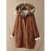 Kadife Düz Renk Peluş Kapşonlu Uzun Kollu Palto