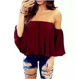 Pure Color Off Shoulder Loose Chiffon Blusa Casual