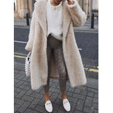 Turn-down Collar Solid Thick Maxi Coats