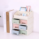 Plastic Drawer Makeup Storage Box White Top Grid Organizer Bedroom Jewelry Display Case