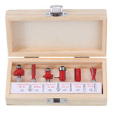 Drillpro 6pcs 1/4 Inch Shank Router Bit Set Woodworking Trimming Milling Cutter With Wooden Box
